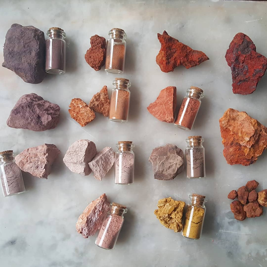 Photo of ochres, raw and ground, from Heidi Gustafson's website,  www.earlyfutures.com .
