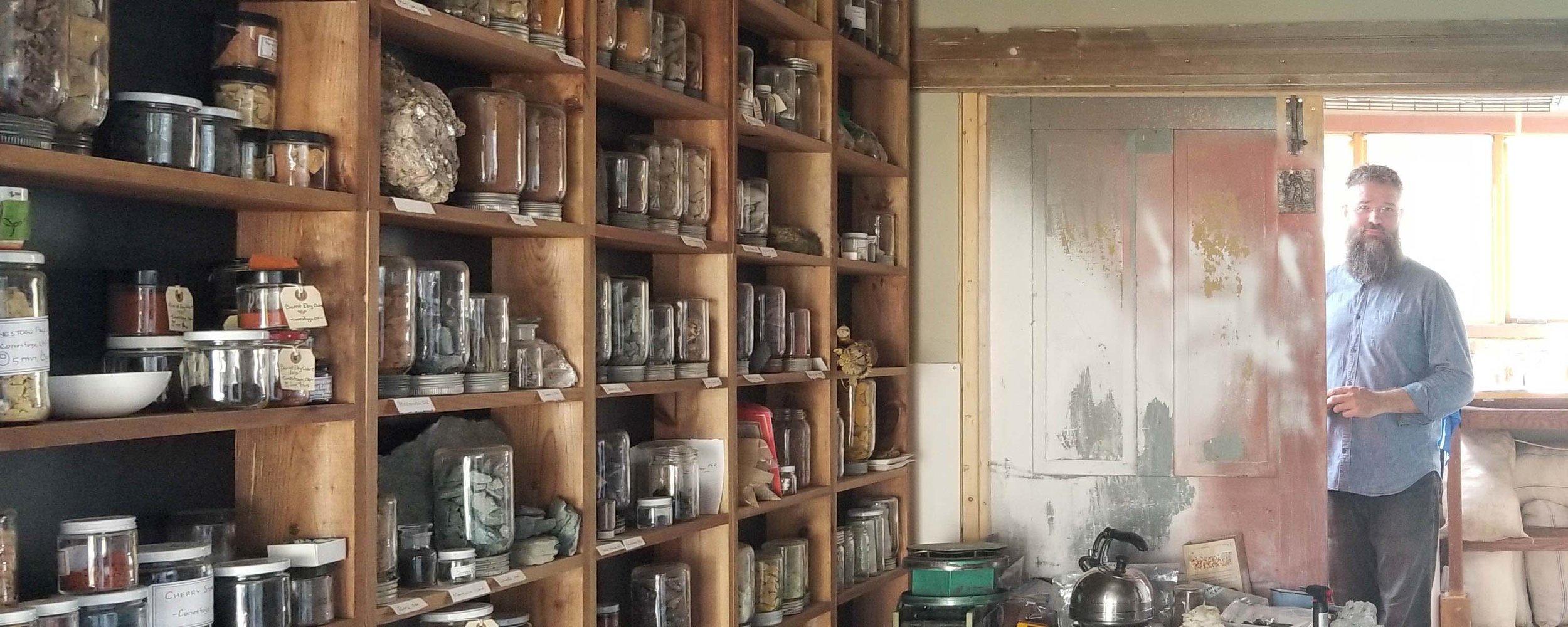Symeon Van Donkelaar with his wunderkammer collection. Photo courtesy of Symeon Van Donkelaar .