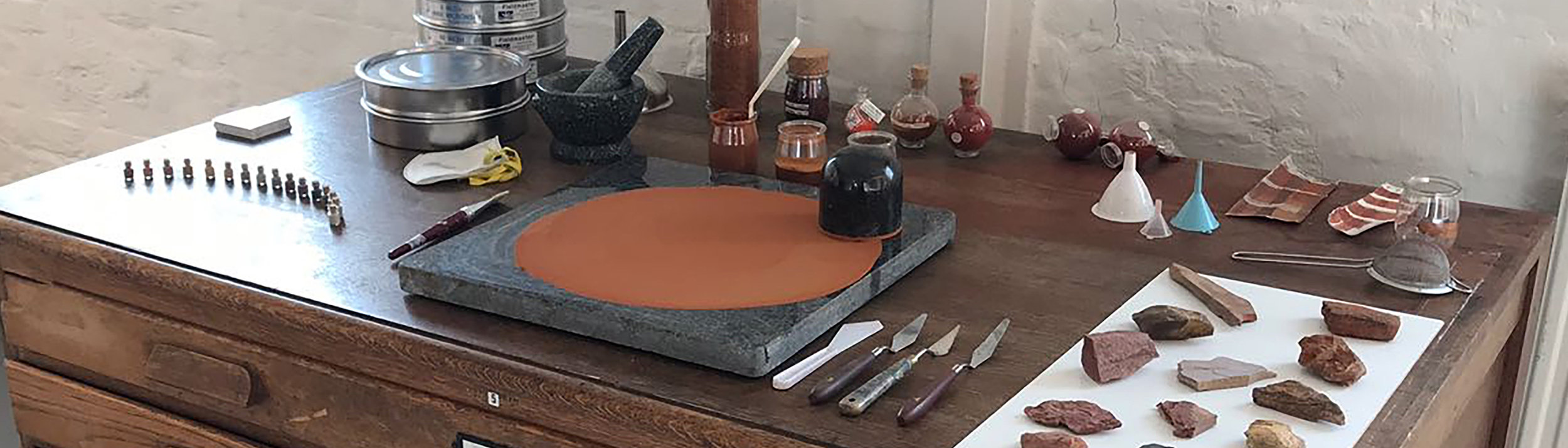 Pigment grinding in Catalina Christensen's studio. Photo courtesy of Catalina Christensen.