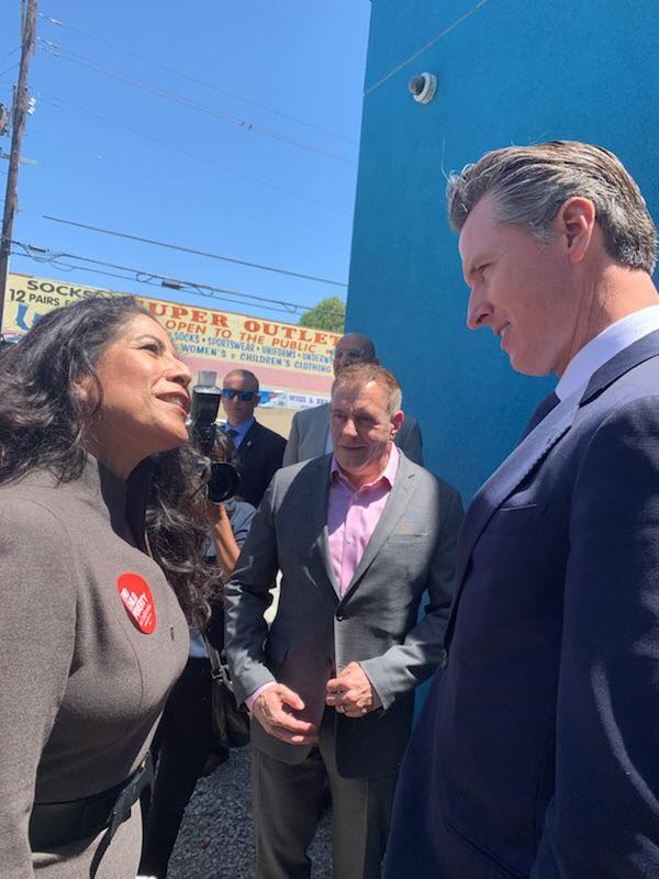 President and CEO of CaliforniaHealth+ Advocates, Carmela Castellano-Garcia, joined Governor Newsom during a tour of St. John's Well Child & Family Center