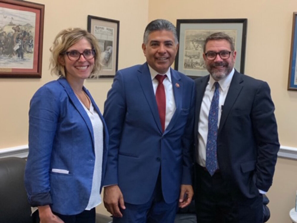 Andie Martinez Patterson, Vice President of Government Affairs for CaliforniaHealth+ Advocates, Congressman Tony Cárdenas & Warren J. Brodine, President & CEO of Eisner Health