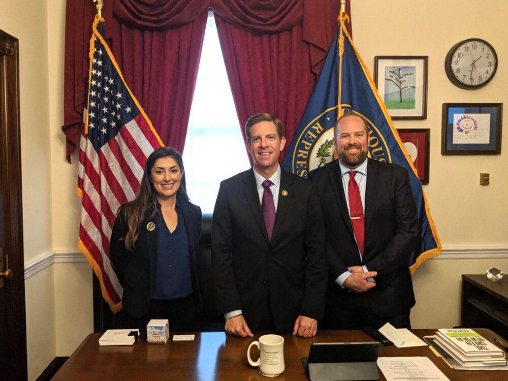 Esen Sainz, Director of Policy & Government Affairs at Coalition of Orange County Community Clinics, Congressman Mike Levin, Tim Fraser, Vice President of Government Affairs at Health Center Partners of Southern California