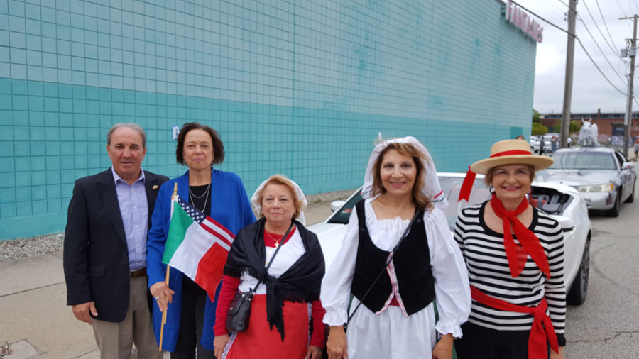 Members at the Columbus Day Parade: Peter Mansella, Patricia Fedeli, Janice Pontarelli, Tori Zannini, and Camille Spicola