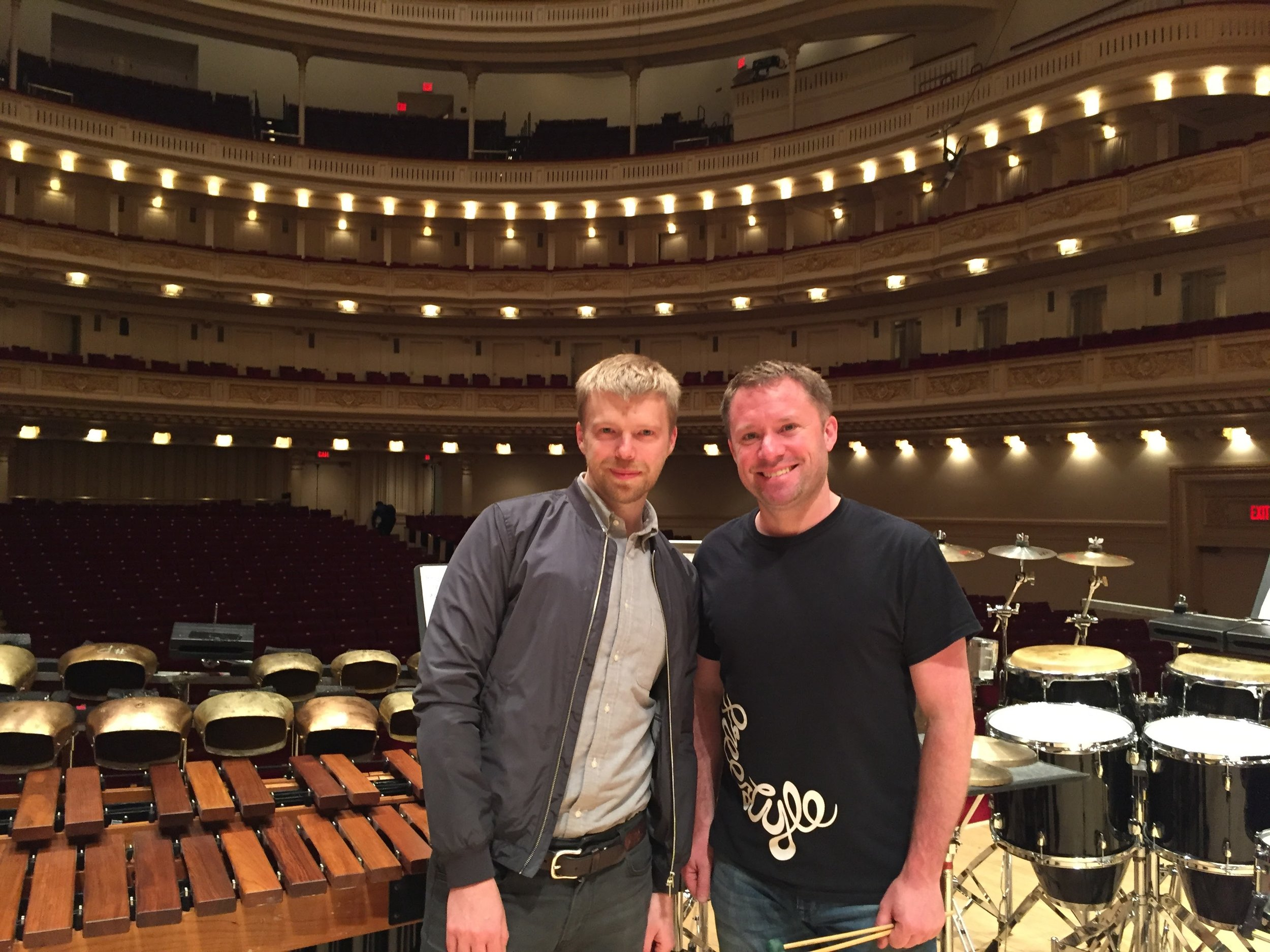 With Andrew Norman in Carnegie Hall for the NY Premiere of 'Switch' for solo percussion and orchestra.