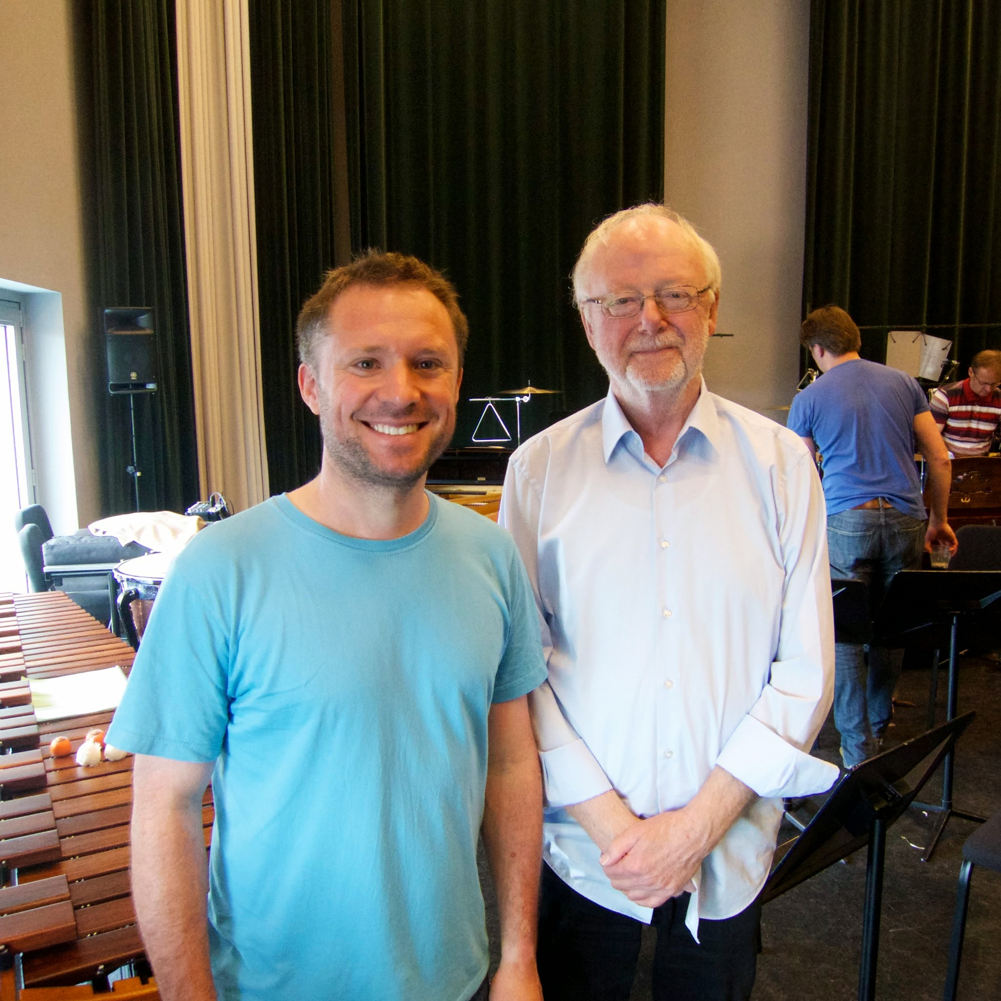 With Louis Andriessen at the first rehearsal for his wonderful and melancholy 'Tapdance' for Solo Percussion and Large Ensemble.
