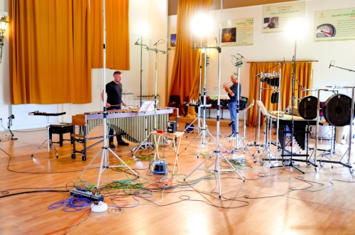 Here we are at the very beginning of the sessions. We began with Joe Duddell's  Catch , which uses just the marimba in my set-up. This gave us a good way into our sound in the room, and a feel for the space.