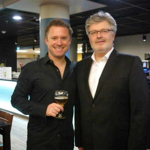 Colin with Sir James MacMillan after the premiere of his Percussion Concerto No.2