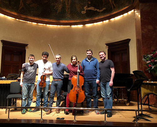 Colin with fellow percussionists Owen Gunnell and Sam Walton along with Sergey Khachatryan (violin), Alisa Weilerstein (cello) and Inon Barnatan (piano)
