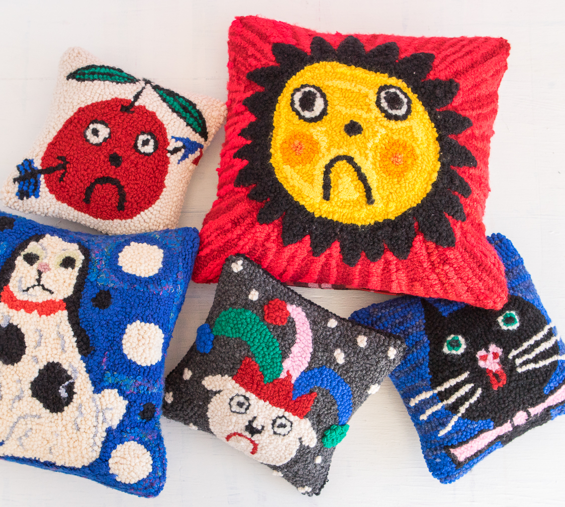 Pillows made in collaboration with Los Angeles retail brand  gentle thrills.