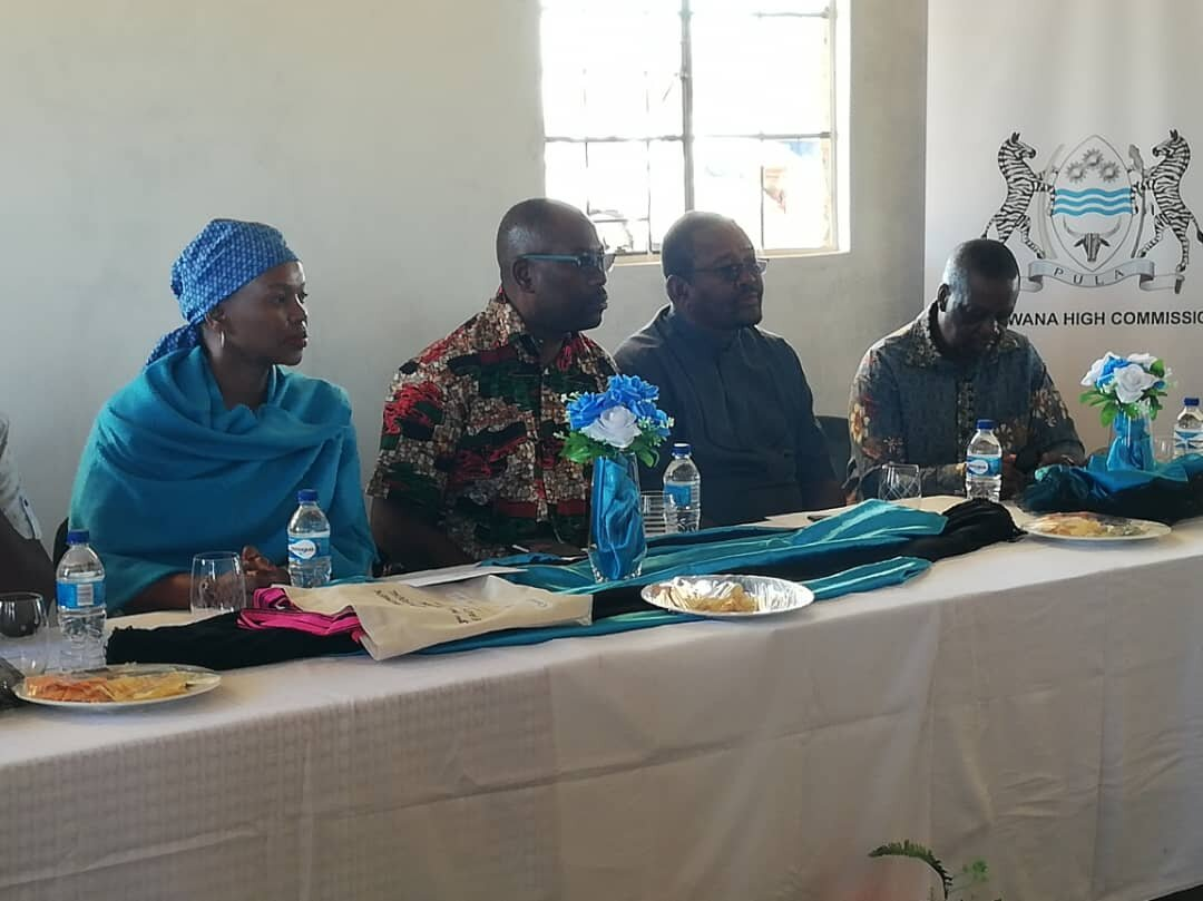 The High Commissioner of Botswana, (in blue),sitting next to the Honourable Festus Ueitele, Governor of Omaheke and delegates.