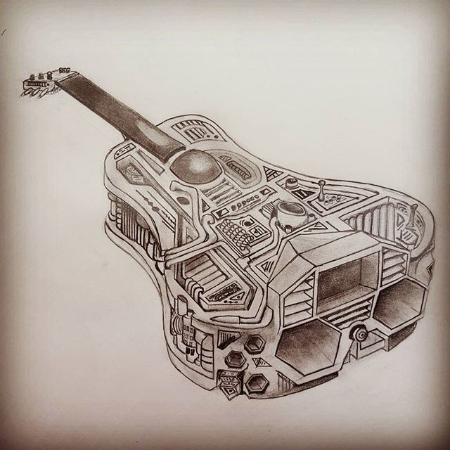 I'm going to planet bluegrass and this is gonna get me there!  #guitarspaceship #graphite #pencildrawing