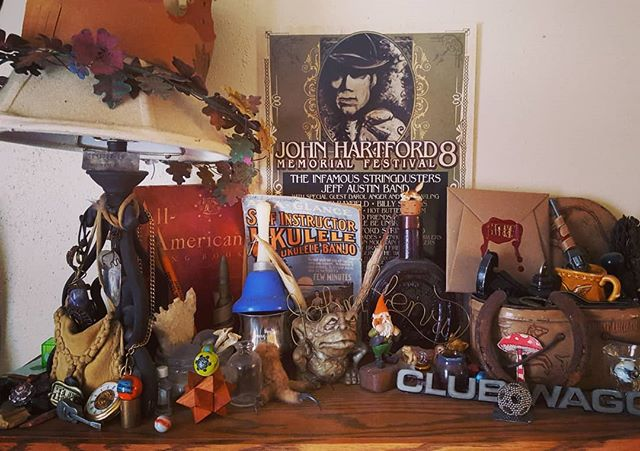 I can't wait to be a part of the band contest at John Hartford Memorial Festival!  #topofthebookshelf #trinkets #poster #organizedclutter