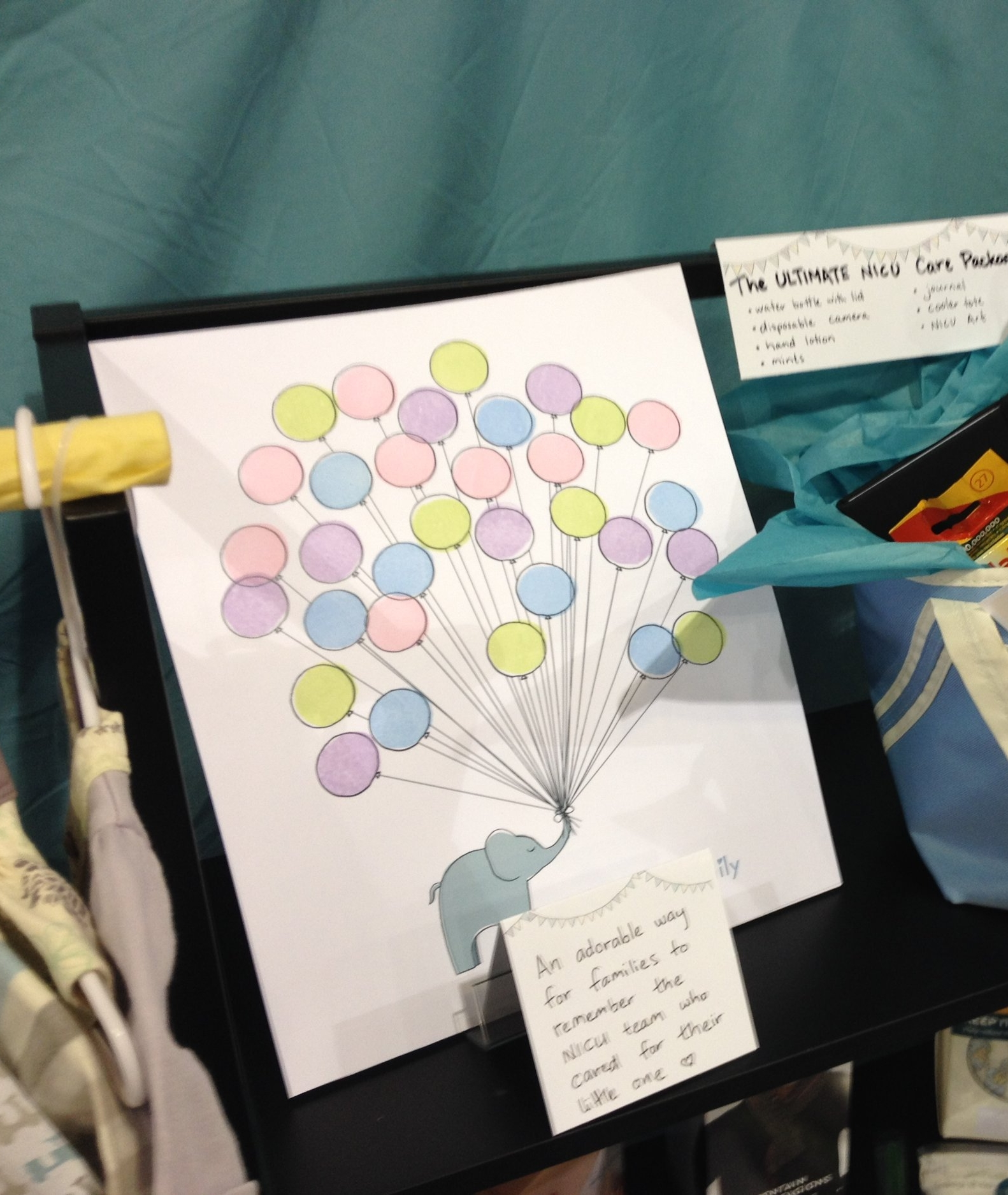The original mock-up for the My NICU Family poster, at NANN convention 2014. Those balloons were hand stamped!