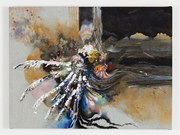 """""""White doves golden gloves,"""" Oil, acrylic and dye on linen, 24""""X30"""" 2013"""