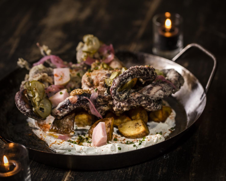 The Kraken (whole tempura octopus with potatoes bravas and yogurt)     Photo Download