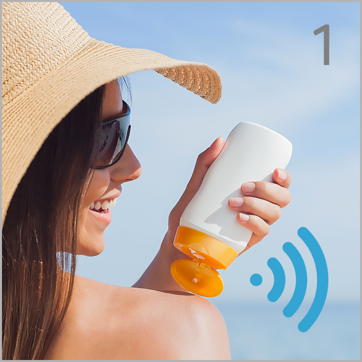 Use Smart Sunscreen.  The IoT enabled sunscreen dispenser records when you apply sunscreen and sends this information to your wearable or phone.