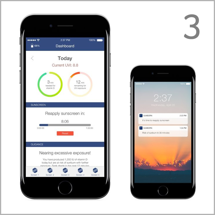 Sync and Update.  Your phone updates your sun exposure and offers more detailed tracking, reminders and advice for your time in the sun.