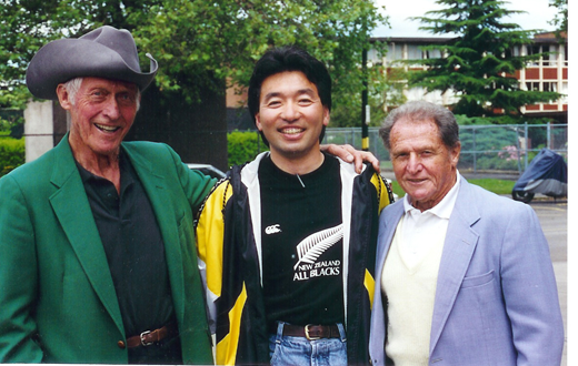 From left to right: Bill Bowerman, Nobby Hashizume and Arthur Lydiard.