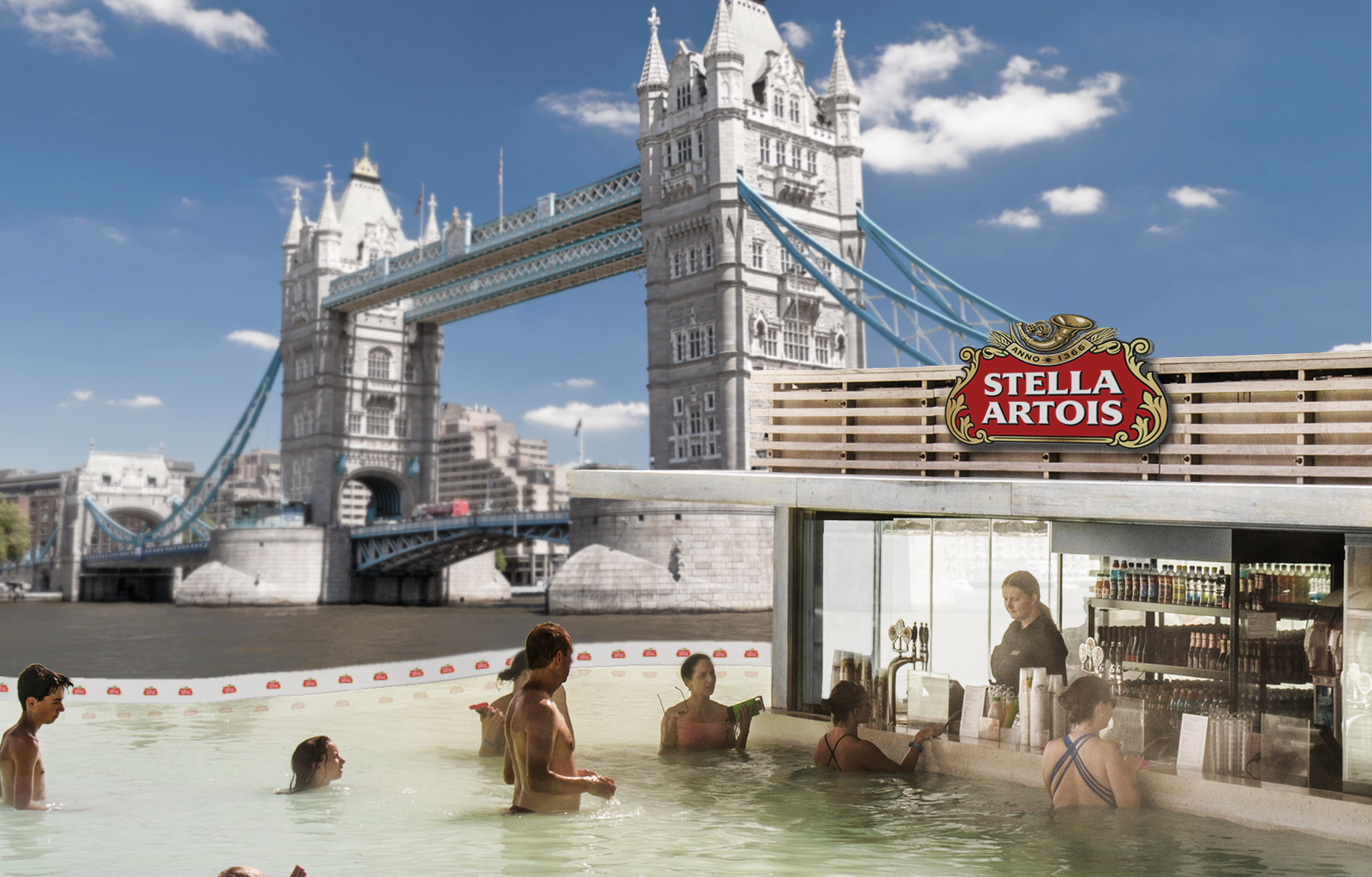 Stella Artois will filter out part of the Thames for the day to create the river's first ever swim-up bar.