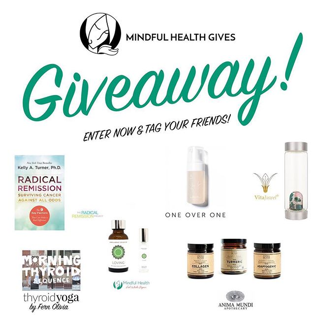 GIVEAWAY TIME ✨We're excited to celebrate our launch with an amazing giveaway! #MindfulHealthGives is a non-profit foundation that aims to bring FREE holistic health retreats and education to caregivers, cancer survivors, patients and more. ⠀  There's some AMAZING prizes up for grabs - including: ✔️@animamundiherbals Turmeric, Collagen, and Adaptogenic ✔️@FernOlivia Morning Thyroid Yoga Sequence ✔️@radicalRemission book ✔️@oneover.one Free Foam ✔️Exclusive limited edition @VitaJuwel ✔️@mindfulhealthnyc Flower Essence Tincture & Gem-Infused Essential Oil ⠀  So many amazing, healing products up for grabs! There will be one winner for each sponsor, totaling SIX chances to win! ⠀  TO ENTER:  1. Follow ALL sponsors - @mindfulhealthgives @FernOlivia @AnimaMundiHerbals @RadicalRemission @OneOver.One @VitaJuwel @mindfulhealthnyc 2. LIKE this post 3. TAG a friend in the comments! 4. EXTRA entries for re-posting this flyer OR donating to @MindfulHealthGives (*Please note there is NO minimum donation- every cent counts! If donating, please visit mindfulhealthgives.org and write your Instagram handle in the notes section so we can give you extra entries!) ⠀  Giveaway will run through 6/22 11:59PM EST. Winners contacted via DM by 6/25 will have 24 hours to claim. Winners announced by 6/27. This giveaway is not at all associated with Instagram. ⠀  Good luck and thanks for supporting #MindfulHealthGives ❤️ #GiveAHandThatHeals #giveaway #giveawaytime