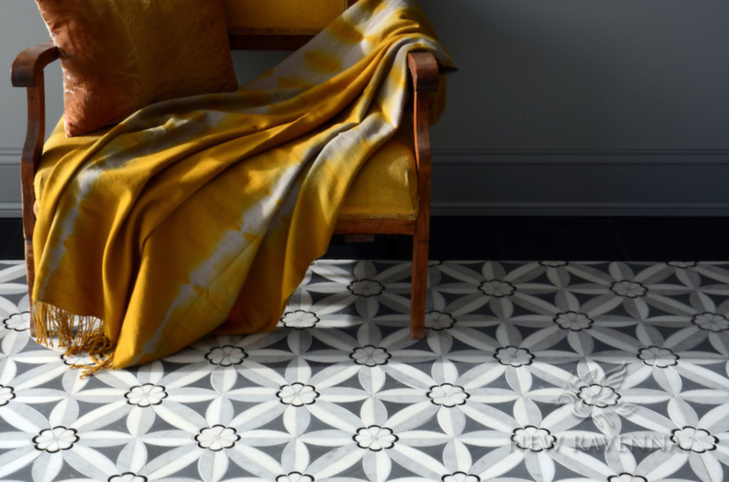 "make a bold statement but stay versatile in design by maintaining a cooler, neutral colorway. a mosaic floor is an investment, so be sure you're not  too  trendy. with a neutral colorway and graphic but classic pattern as well as marble matterials, this is another floor that will live long, long after the ""paint your own statement floor"" trend passes."