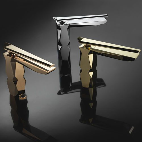 maier contemporary single hole lav faucets with top lever handles in tungsten rose gold and 24 karat gold