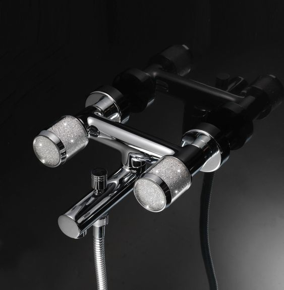maier wall mount tub filler with crystal knobs in platinum - the ultimate guide to luxury pluming by the delight of design