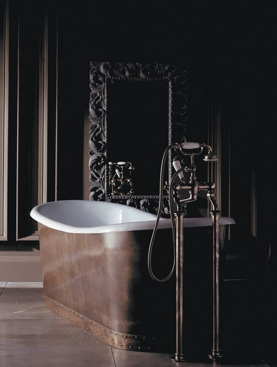 devon & devon copper enamel freestanding tub with traditional freestanding tub filler in polished nickel - the ultimate guide to luxury plumbing by the delight of design