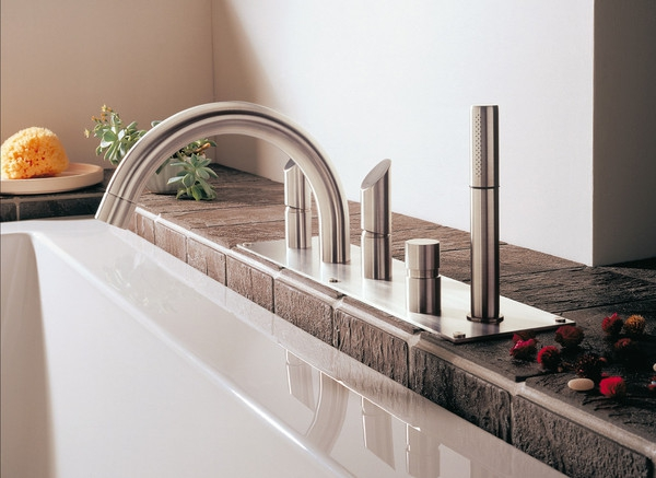 mgs milano contemporary gooseneck deck mount tub filler with handshower in brushed nickel with knob handles - the ultimate guide to luxury plumbing by the delight of design
