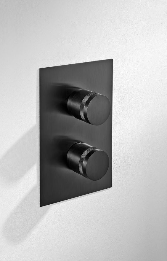 mgs milano contemporary minimalist black stainless shower trim with knob handles on plate - the ultimate guide to luxury plumbing by the delight of design
