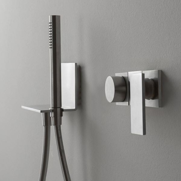 treemme contemporary wall mount tub trim with lever handle and knob with handshower in titanium - the ultimate guide to luxury plumbing by the delight of design
