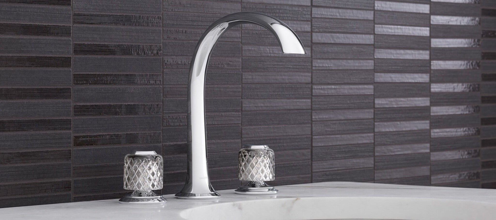 kallista script faucet with crystal knob handles in polished nickel and high spout - the ultimate guide to luxury plumbing by the delight of design