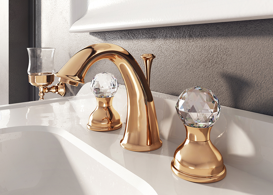 webert transitional widespread lav faucet with crystal knobs and gooseneck spout in polished rose gold - the ultimate guide to luxury plumbing by the delight of design