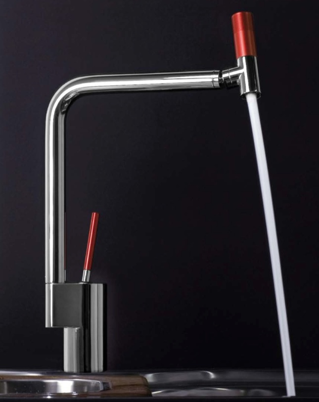 webert contemporary minimalist single hole kitchen faucet with red handle and pull down spray with joystick handle in polished chrome - the ultimate guide to luxury plumbing by the delight of design