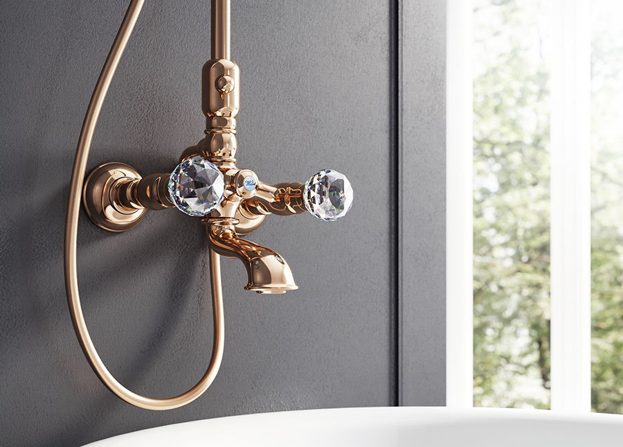 webert wall mounted tub shower filler with crystal knob handles in polished rose gold - the ultimate guide to luxury plumbing by the delight of design