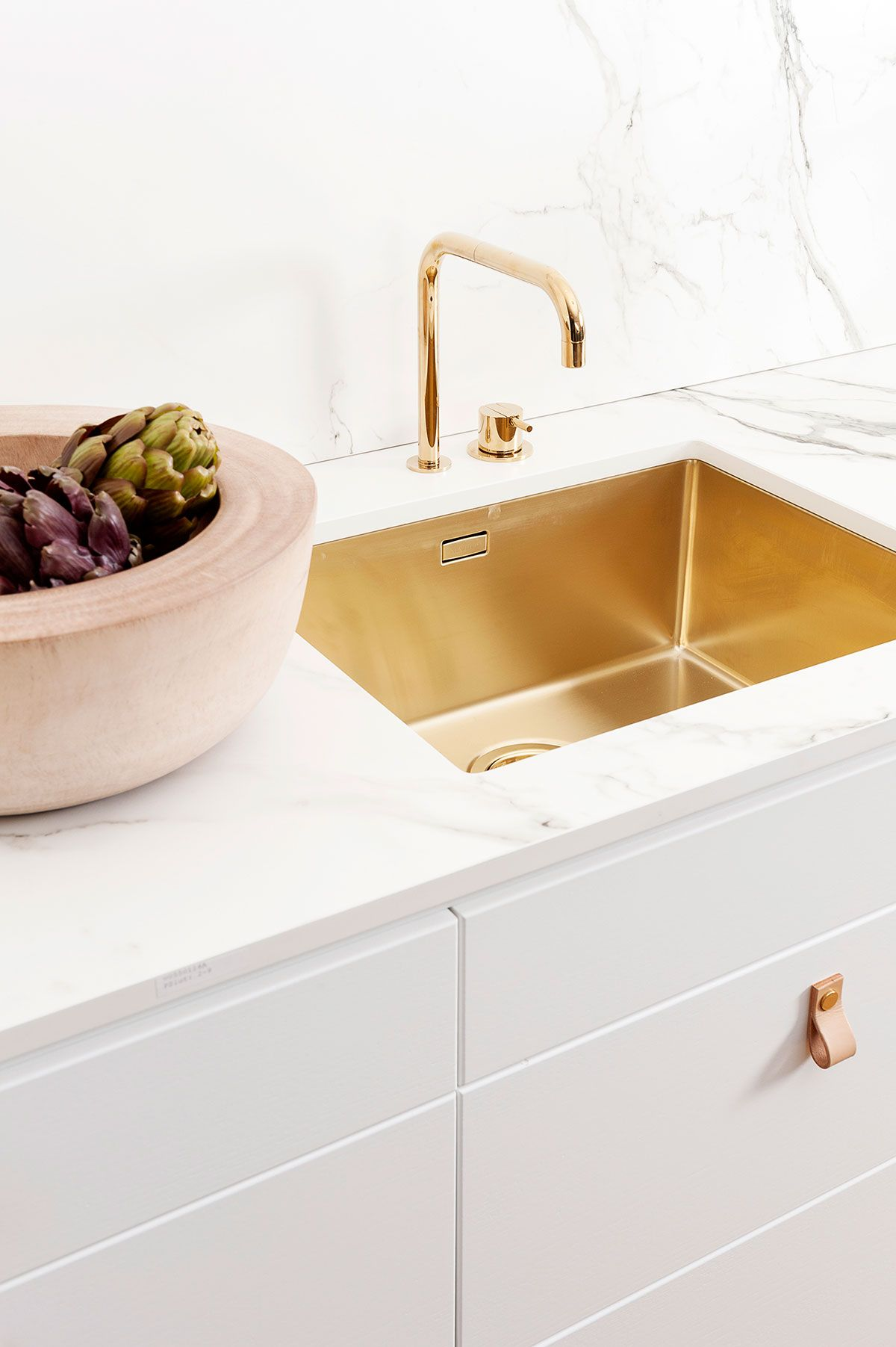 vola contemporary minimalist remote valve kitchen faucet with side knob and 90 degree spout in polished gold - the ultimate guide to luxury plumbing by the delight of design