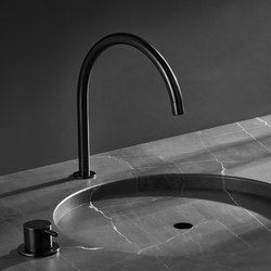 vola contemporary minimalist gooseneck remote valve lav faucet with knob handle in black - the ultimate guide to luxury plumbing by the delight of design