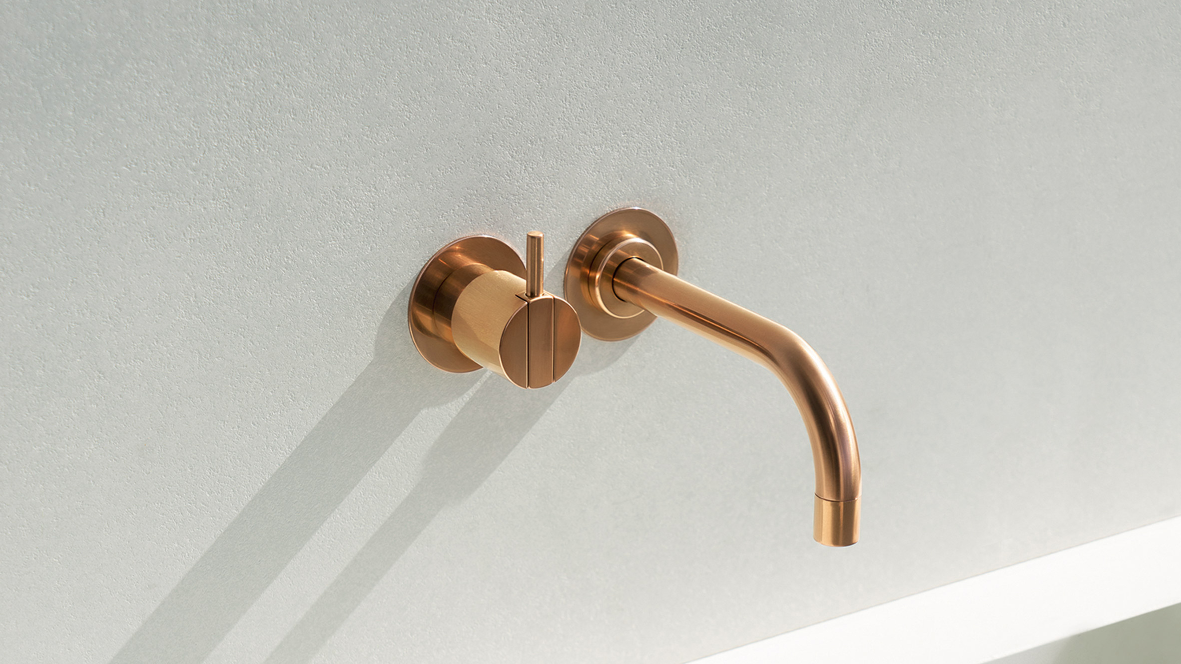 vola contemporary minimalist wall mount remote valve lav faucet with knob lever handle in rose gold with 90 degree spout - the ultimate guide to luxury plumbing by the delight of design
