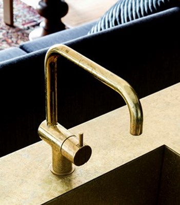 vola contemporary minimalist single hole kitchen faucet with lever handle and 90 degree spout in unlacquered brass - the ultimate guide to luxury plumbing by the delight of design