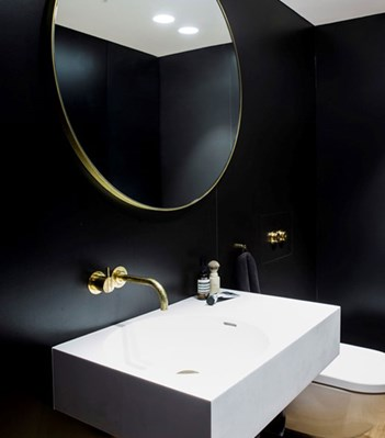 vola contemporary minimalist wall mounted remote valve lav faucet with lever knob handle in unlacquered brass with 90 degree spout - the ultimate guide to luxury plumbing by the delight of design