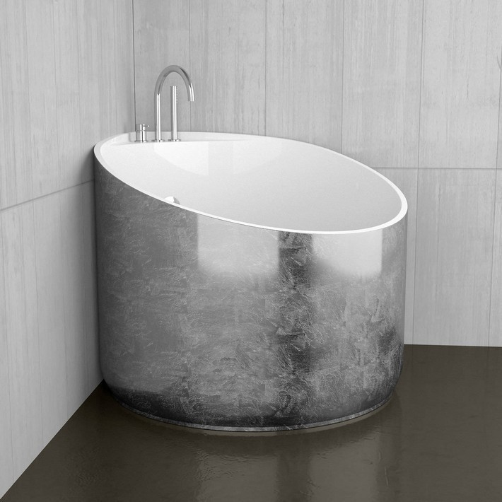 maison valentina contemporary deck mount tub filler with handshower and gooseneck spout in polished chrome and gilded silver tub - the ultimate guide to luxury plumbing by the delight of design