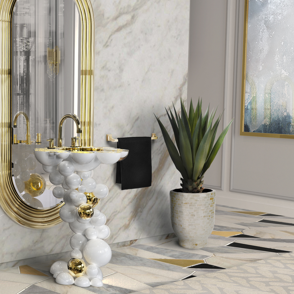 maison valentina contemporary widespread lav faucet with knob handles and gooseneck spout in unlacquered brass bubble pedestal - the ultimate guide to luxury plumbing by the delight of design