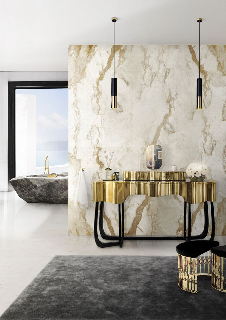 maison valentina contemporary freestanding tub filler and carved tub with brass vanity in unlacquered brass and gold - the ultimate guide to luxury plumbing by the delight of design