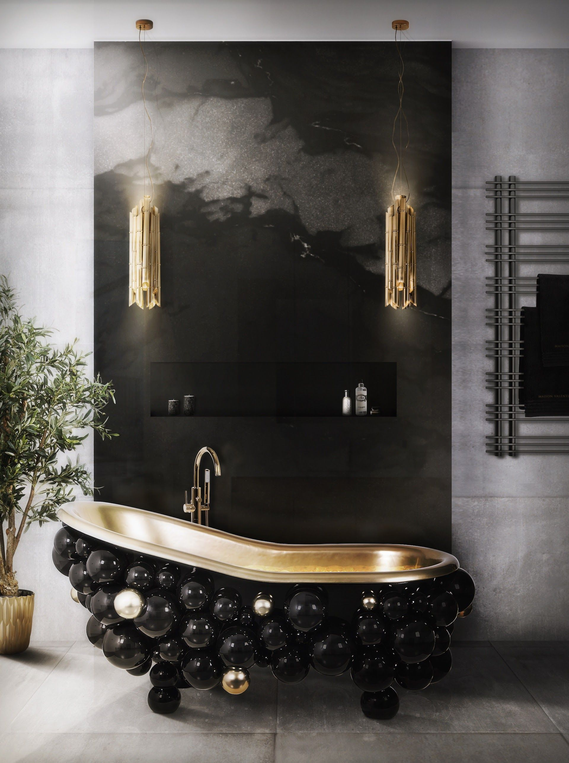 maison valentina baroque freestanding tub filler with gooseneck spout in unlacquered brass freestanding couture black clawfoot tub - the ultimate guide to luxury plumbing by the delight of design