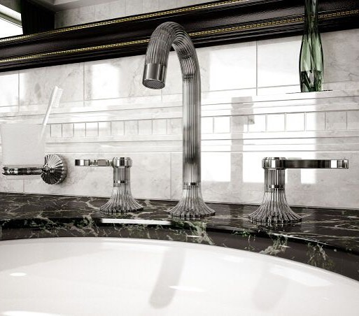 rohl decorative widespread lav faucet in antique nickel with lever handles and gooseneck spout with knurling detail - the u