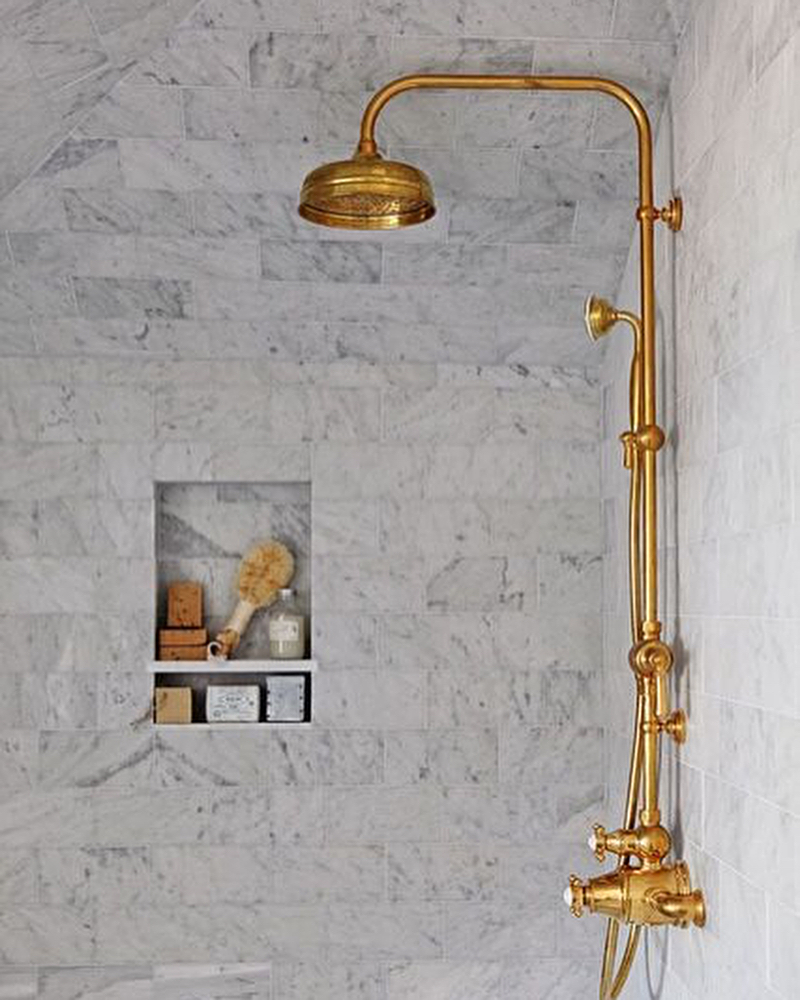 rohl traditional rail shower system with rainhead and handshower in gold with lever handles - the ultimate guide to luxury plumbing by the delight of design