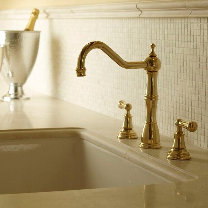 rohl traditional widespread kitchen faucet with low spout and lever handles in unlacquered brass - the ultimate guide to luxury plumbing by the delight of design