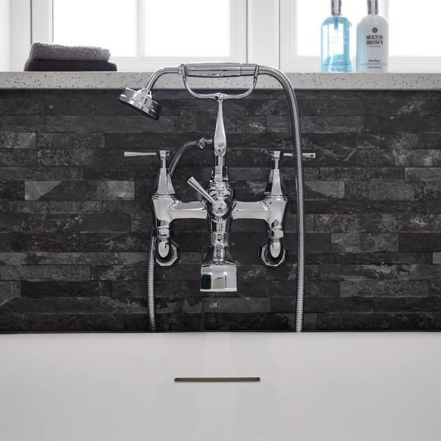 rohl deco wall mount tub filler with handshower and lever handles in polished chrome - the ultimate guide to luxury plumbing by the delight of design
