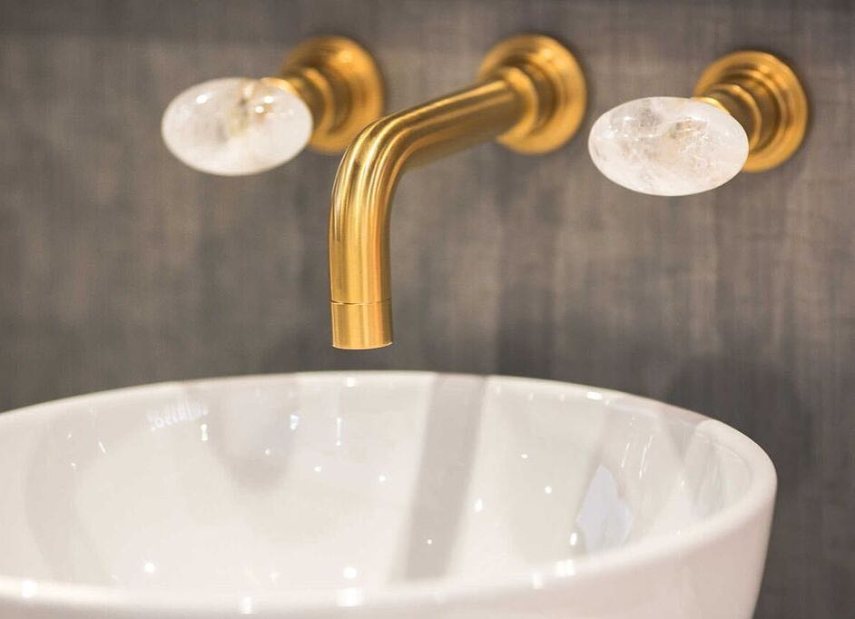 rohl contemporary widespread wall mounted lav faucet with crystal knob handles in vibrant gold with 90 degree spout - the ultimate guide to luxury plumbing by the delight of design