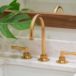 rohl transitional widespread lav faucet with gooseneck spout and lever handles in vibrant gold - the ultimate guide to luxury plumbing by the delight of design